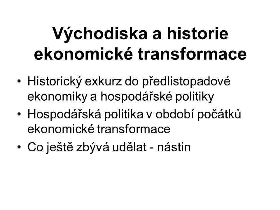 Východiska a historie ekonomické transformace Historický exkurz do předlistopadové ekonomiky a hospodářské politiky Hospodářská politika v období počátků ekonomické transformace Co ještě zbývá udělat - nástin