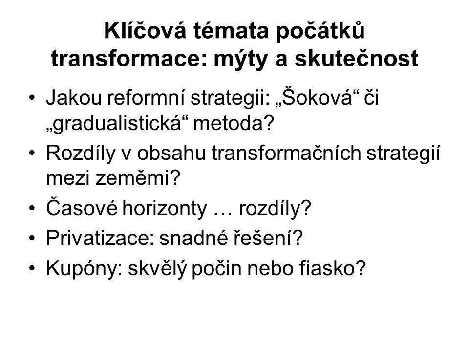 """Klíčová témata počátků transformace: mýty a skutečnost Jakou reformní strategii: """"Šoková či """"gradualistická metoda."""