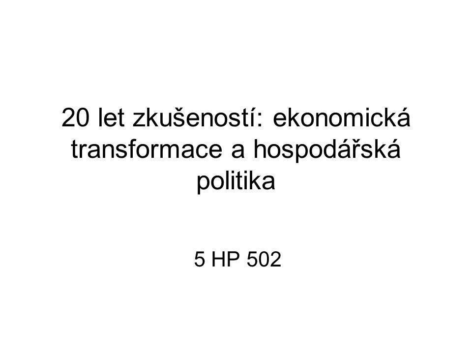 20 let zkušeností: ekonomická transformace a hospodářská politika 5 HP 502