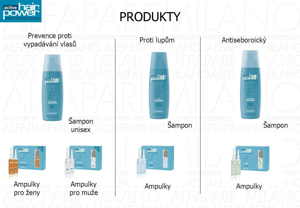 PRODUKTY Prevence proti vypadávání vlasů Proti lupůmAntiseboroický Šampon unisex Šampon Ampulky pro ženy Ampulky pro muže Ampulky