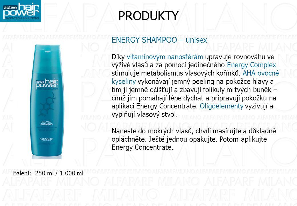 PRODUKTY ENERGY SHAMPOO – unisex Díky vitamínovým nanosférám upravuje rovnováhu ve výživě vlasů a za pomoci jedinečného Energy Complex stimuluje metabolismus vlasových kořínků.