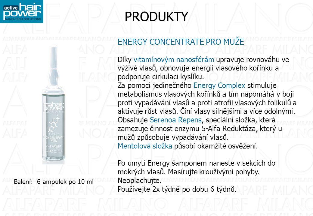 PRODUKTY ENERGY CONCENTRATE PRO MUŽE Díky vitamínovým nanosférám upravuje rovnováhu ve výživě vlasů, obnovuje energii vlasového kořínku a podporuje cirkulaci kyslíku.
