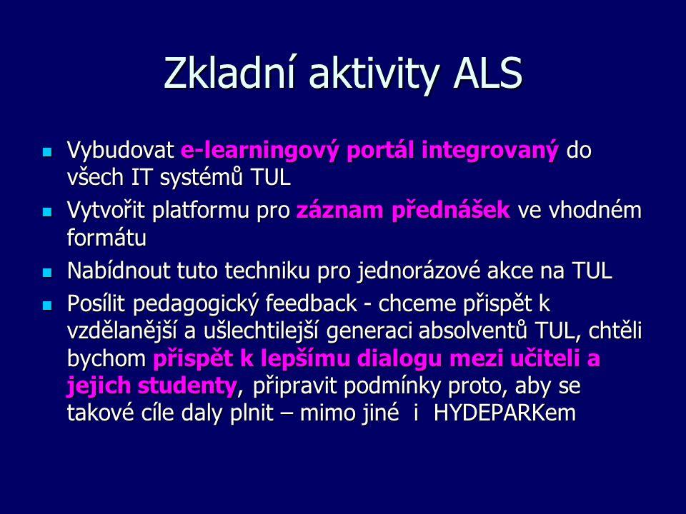 Zkladní aktivity ALS Vybudovat e-learningový portál integrovaný do všech IT systémů TUL Vybudovat e-learningový portál integrovaný do všech IT systémů TUL Vytvořit platformu pro záznam přednášek ve vhodném formátu Vytvořit platformu pro záznam přednášek ve vhodném formátu Nabídnout tuto techniku pro jednorázové akce na TUL Nabídnout tuto techniku pro jednorázové akce na TUL Posílit pedagogický feedback - chceme přispět k vzdělanější a ušlechtilejší generaci absolventů TUL, chtěli bychom přispět k lepšímu dialogu mezi učiteli a jejich studenty, připravit podmínky proto, aby se takové cíle daly plnit – mimo jiné i HYDEPARKem Posílit pedagogický feedback - chceme přispět k vzdělanější a ušlechtilejší generaci absolventů TUL, chtěli bychom přispět k lepšímu dialogu mezi učiteli a jejich studenty, připravit podmínky proto, aby se takové cíle daly plnit – mimo jiné i HYDEPARKem