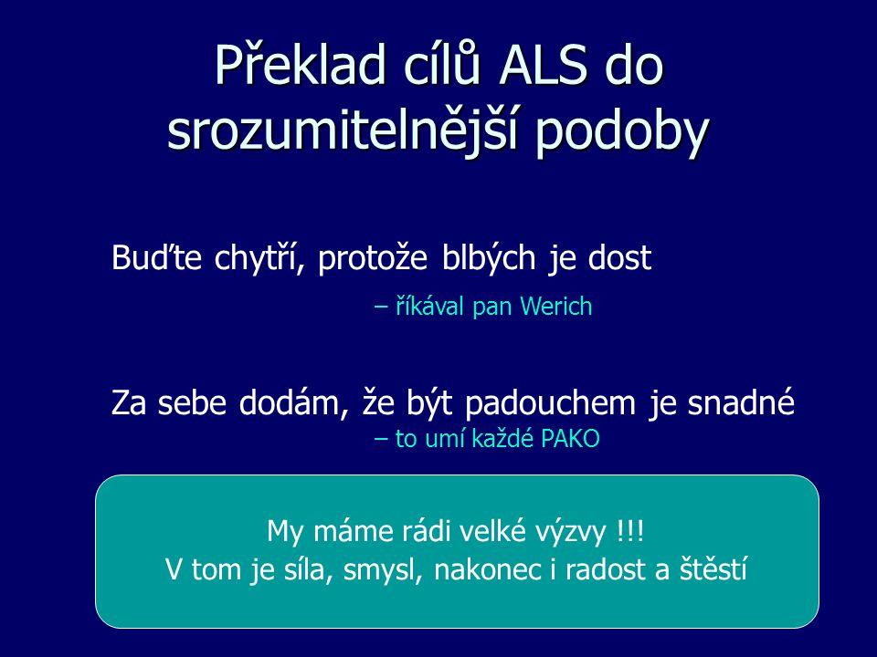 Překlad cílů ALS do srozumitelnější podoby Buďte chytří, protože blbých je dost – říkával pan Werich Za sebe dodám, že být padouchem je snadné – to umí každé PAKO My máme rádi velké výzvy !!.