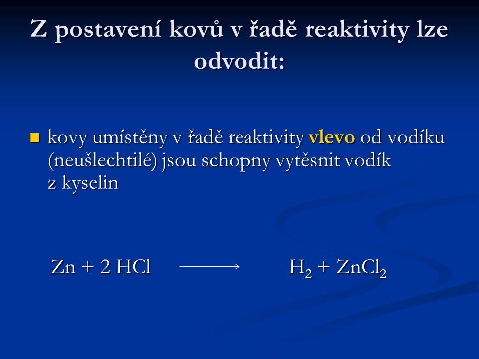 Z postavení kovů v řadě reaktivity lze odvodit: kovy umístěny v řadě reaktivity vlevo od vodíku (neušlechtilé) jsou schopny vytěsnit vodík z kyselin k