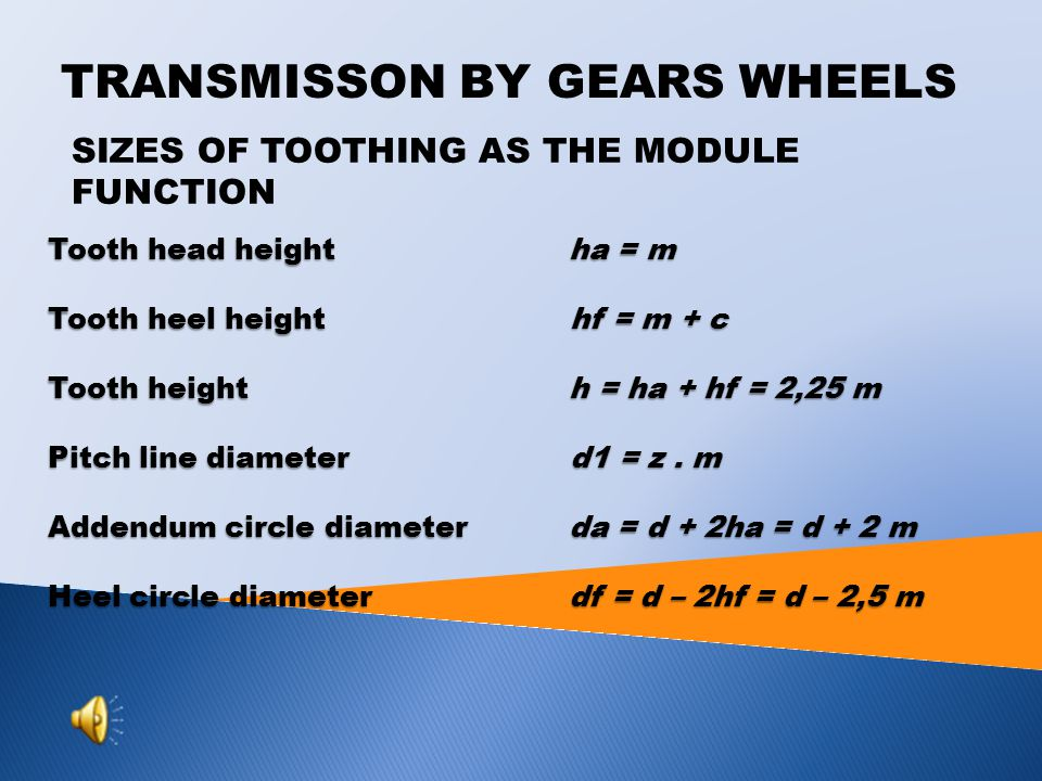 SIZES OF TOOTHING AS THE MODULE FUNCTION Tooth head heightha = m Tooth heel height hf = m + c Tooth heighth = ha + hf = 2,25 m Pitch line diameter d1 = z.