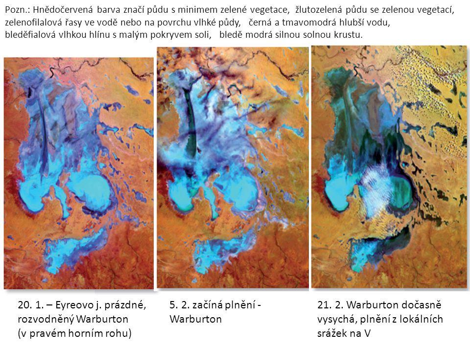 Pozn.: Hnědočervená barva značí půdu s minimem zelené vegetace, žlutozelená půdu se zelenou vegetací, zelenofilalová řasy ve vodě nebo na povrchu vlhké půdy, černá a tmavomodrá hlubší vodu, bleděfialová vlhkou hlínu s malým pokryvem soli, bledě modrá silnou solnou krustu.