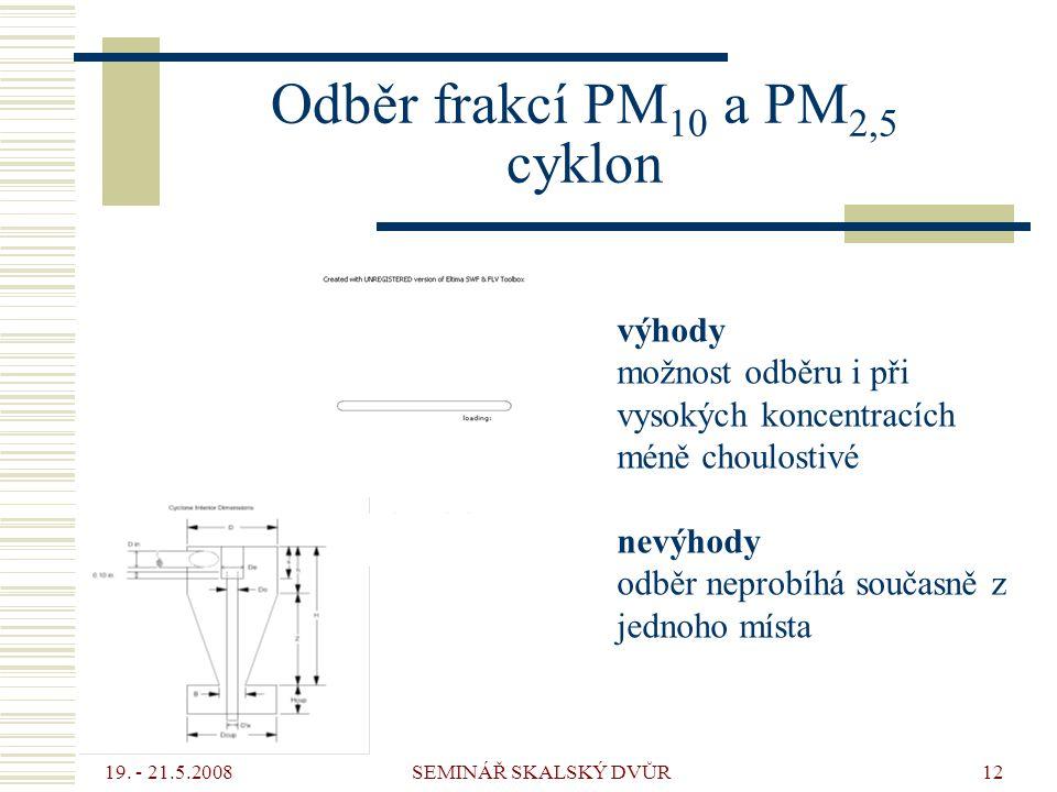 19. - 21.5.2008 SEMINÁŘ SKALSKÝ DVŮR12 Odběr frakcí PM 10 a PM 2,5 cyklon výhody možnost odběru i při vysokých koncentracích méně choulostivé nevýhody