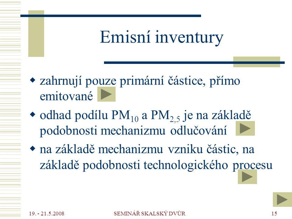 19. - 21.5.2008 SEMINÁŘ SKALSKÝ DVŮR15 Emisní inventury  zahrnují pouze primární částice, přímo emitované  odhad podílu PM 10 a PM 2,5 je na základě