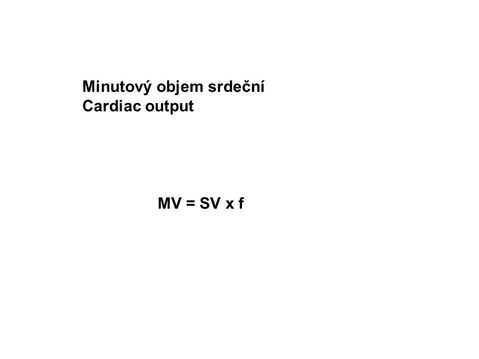 Minutový objem srdeční Cardiac output MV = SV x f