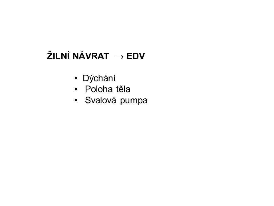 ŽILNÍ NÁVRAT → EDV Dýchání Poloha těla Svalová pumpa