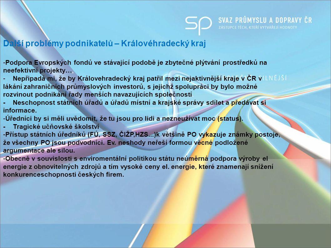 Další problémy podnikatelů – Královéhradecký kraj -Podpora Evropských fondů ve stávající podobě je zbytečné plýtvání prostředků na neefektivní projekty…, - Nepřipadá mi, že by Královehradecký kraj patřil mezi nejaktivnější kraje v ČR v lákání zahraničních průmyslových investorů, s jejichž spolupráci by bylo možné rozvinout podnikání řady menších navazujících společností.