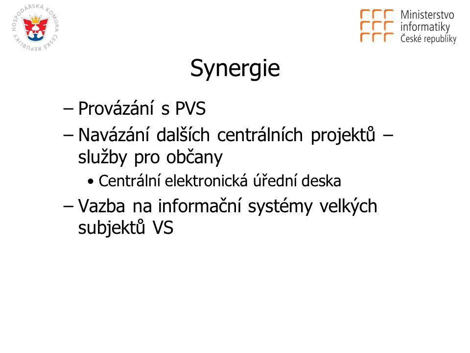 Synergie –Provázání s PVS –Navázání dalších centrálních projektů – služby pro občany Centrální elektronická úřední deska –Vazba na informační systémy velkých subjektů VS