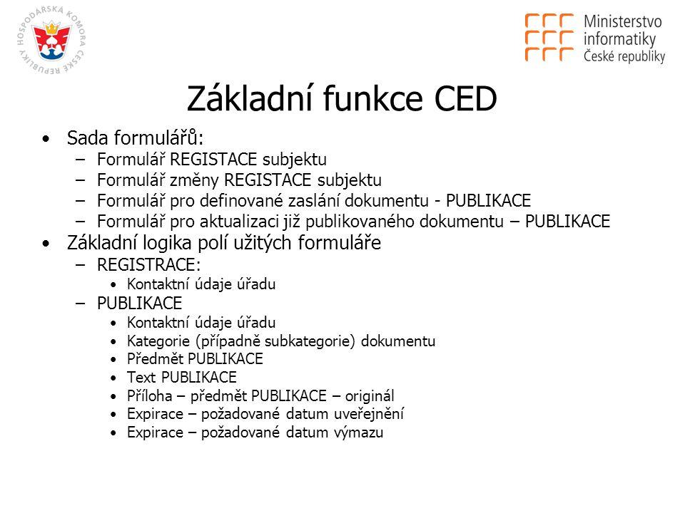 Základní funkce CED Sada formulářů: –Formulář REGISTACE subjektu –Formulář změny REGISTACE subjektu –Formulář pro definované zaslání dokumentu - PUBLIKACE –Formulář pro aktualizaci již publikovaného dokumentu – PUBLIKACE Základní logika polí užitých formuláře –REGISTRACE: Kontaktní údaje úřadu –PUBLIKACE Kontaktní údaje úřadu Kategorie (případně subkategorie) dokumentu Předmět PUBLIKACE Text PUBLIKACE Příloha – předmět PUBLIKACE – originál Expirace – požadované datum uveřejnění Expirace – požadované datum výmazu
