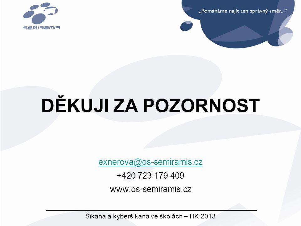exnerova@os-semiramis.cz +420 723 179 409 www.os-semiramis.cz Šikana a kyberšikana ve školách – HK 2013 DĚKUJI ZA POZORNOST