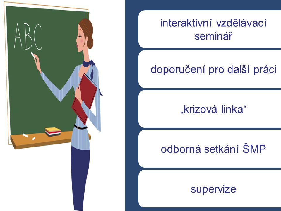 """interaktivní vzdělávací seminář odborná setkání ŠMP """"krizová linka"""" doporučení pro další práci supervize"""