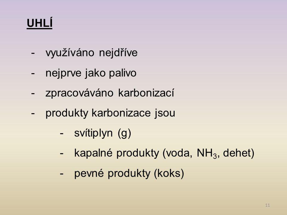 11 UHLÍ -využíváno nejdříve -nejprve jako palivo -zpracováváno karbonizací -produkty karbonizace jsou -svítiplyn (g) -kapalné produkty (voda, NH 3, dehet) -pevné produkty (koks)