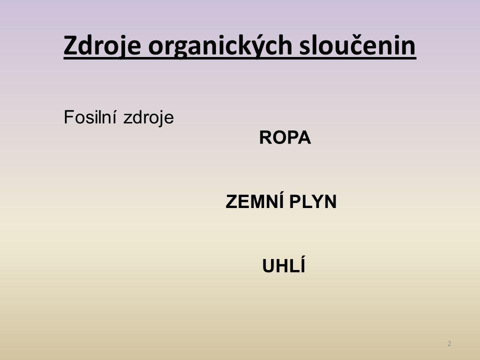 Zdroje organických sloučenin 2 Fosilní zdroje ROPA ZEMNÍ PLYN UHLÍ