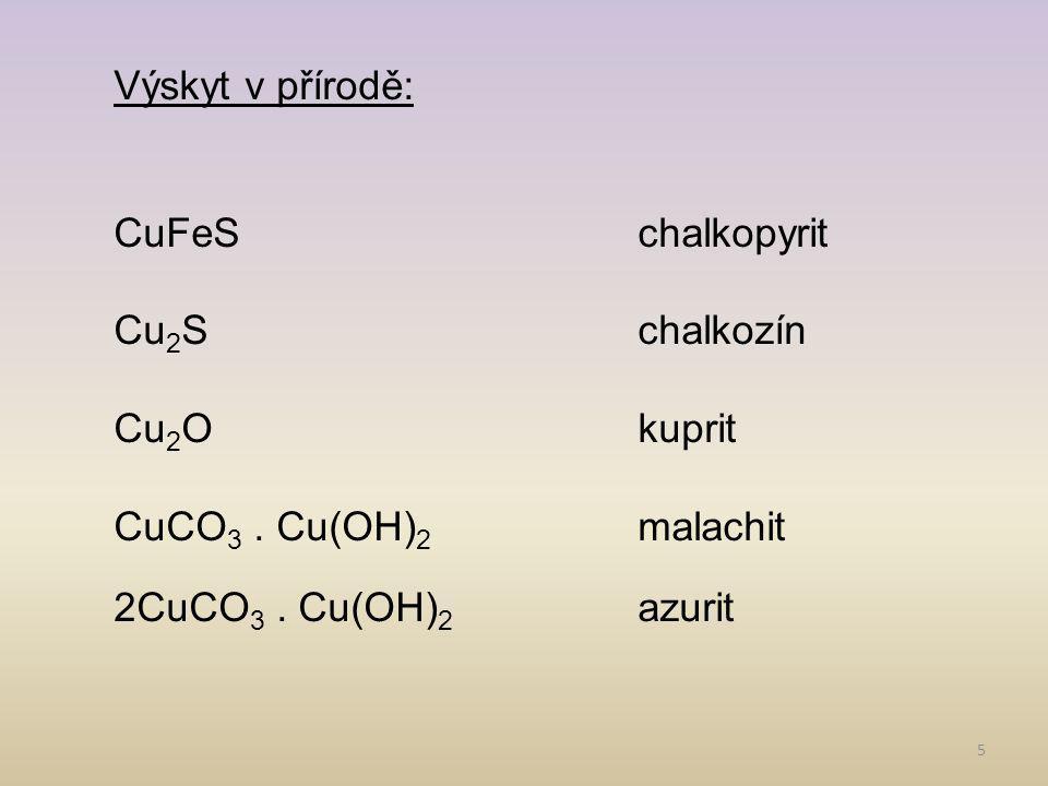 5 Výskyt v přírodě: CuFeSchalkopyrit Cu 2 Schalkozín Cu 2 Okuprit CuCO 3.