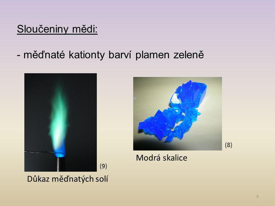 9 Sloučeniny mědi: - měďnaté kationty barví plamen zeleně (9) Důkaz měďnatých solí (8) Modrá skalice