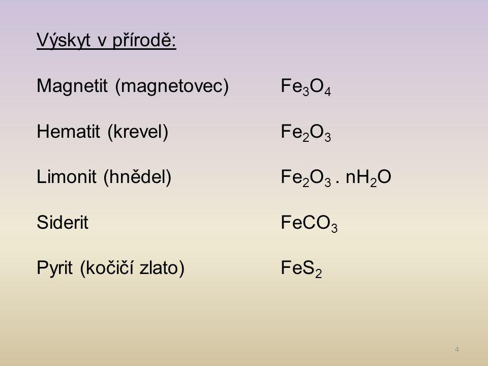4 Výskyt v přírodě: Magnetit (magnetovec)Fe 3 O 4 Hematit (krevel)Fe 2 O 3 Limonit (hnědel)Fe 2 O 3. nH 2 O SideritFeCO 3 Pyrit (kočičí zlato)FeS 2