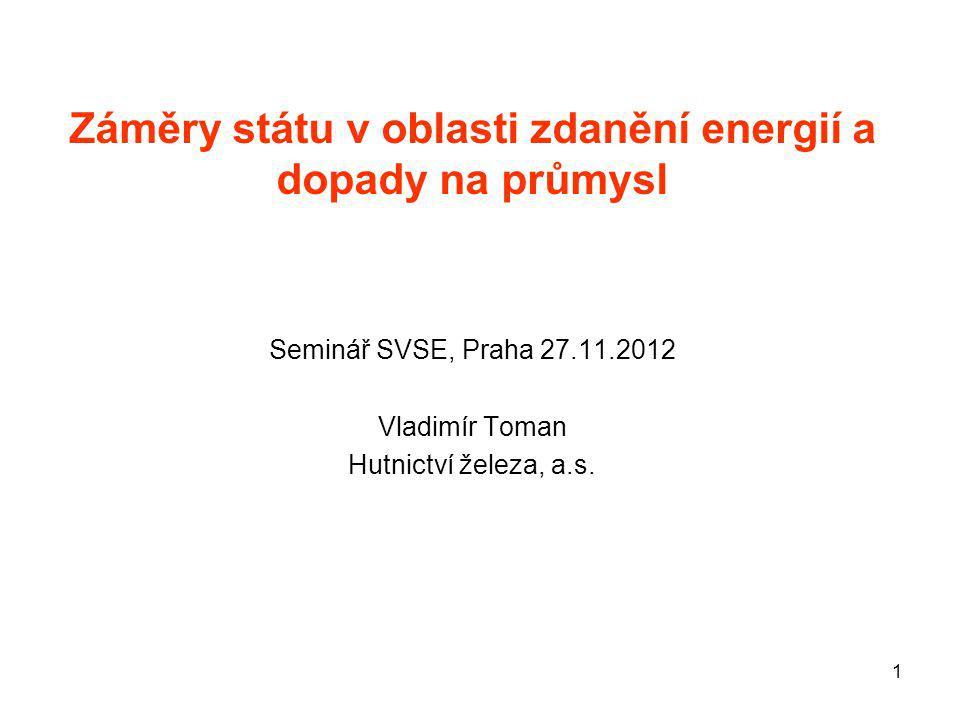 1 Záměry státu v oblasti zdanění energií a dopady na průmysl Seminář SVSE, Praha 27.11.2012 Vladimír Toman Hutnictví železa, a.s.