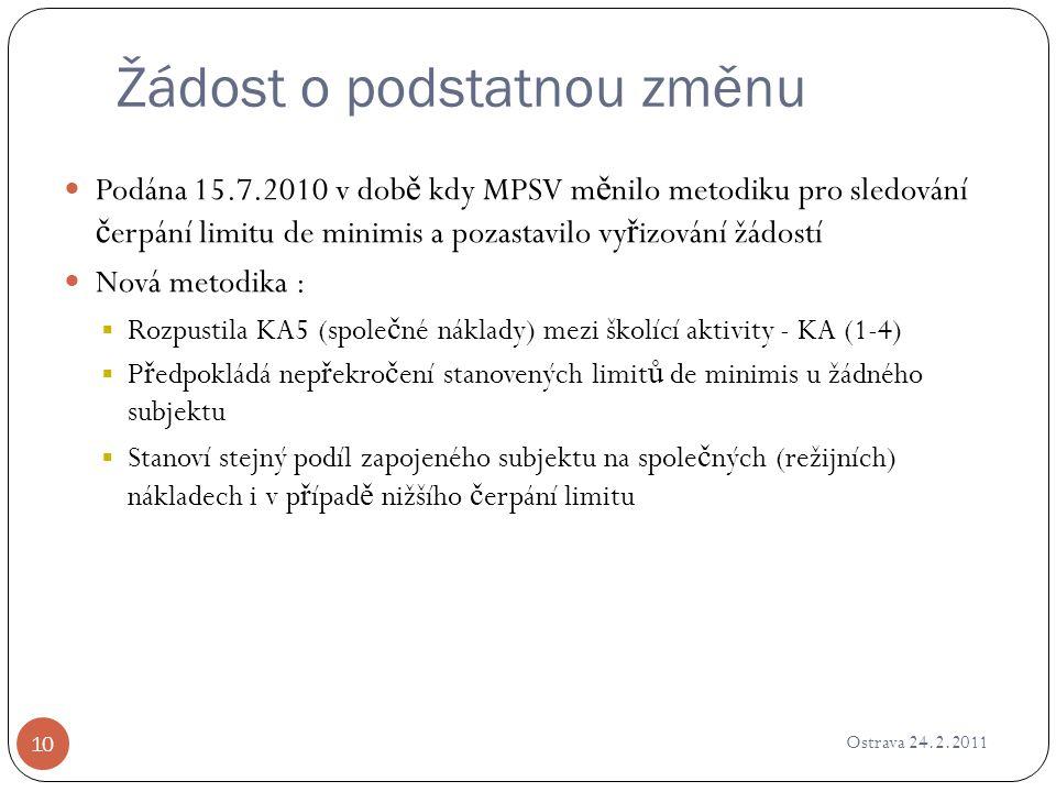 Žádost o podstatnou změnu Ostrava 24.2.2011 10 Podána 15.7.2010 v dob ě kdy MPSV m ě nilo metodiku pro sledování č erpání limitu de minimis a pozastav