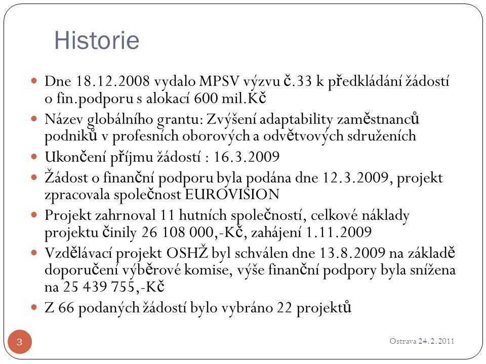 Historie Ostrava 24.2.2011 3 Dne 18.12.2008 vydalo MPSV výzvu č.33 k p ř edkládání žádostí o fin.podporu s alokací 600 mil.K č Název globálního grantu