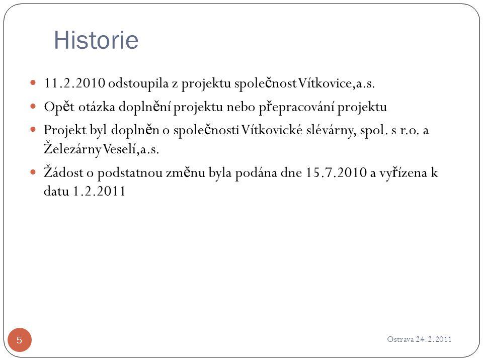 Historie Ostrava 24.2.2011 5 11.2.2010 odstoupila z projektu spole č nost Vítkovice,a.s. Op ě t otázka dopln ě ní projektu nebo p ř epracování projekt