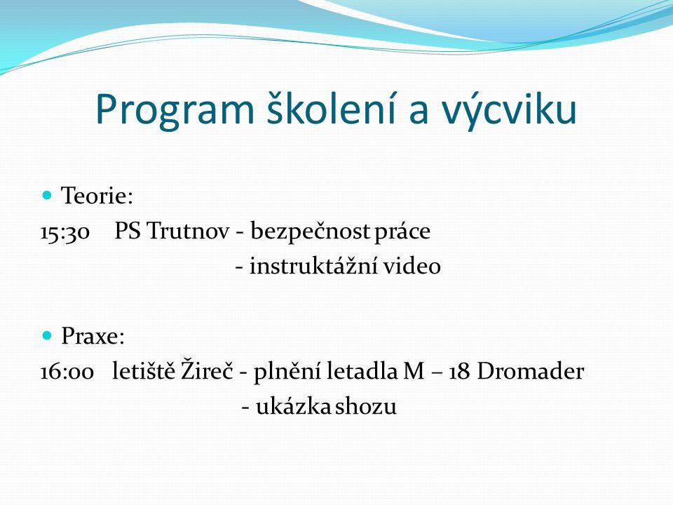 Program školení a výcviku Teorie: 15:30 PS Trutnov - bezpečnost práce - instruktážní video Praxe: 16:00 letiště Žireč - plnění letadla M – 18 Dromader