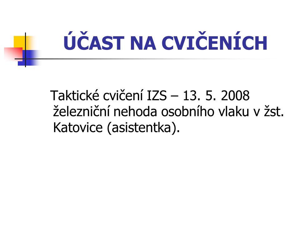 ÚČAST NA CVIČENÍCH Taktické cvičení IZS – 13. 5. 2008 železniční nehoda osobního vlaku v žst.