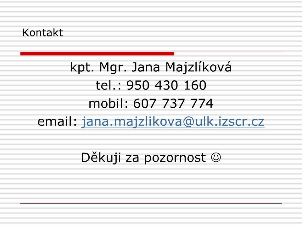 Kontakt kpt. Mgr. Jana Majzlíková tel.: 950 430 160 mobil: 607 737 774 email: jana.majzlikova@ulk.izscr.czjana.majzlikova@ulk.izscr.cz Děkuji za pozor