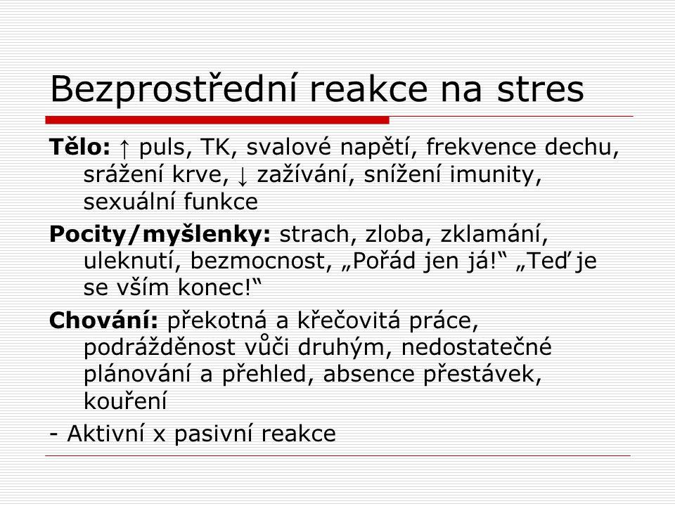 Bezprostřední reakce na stres Tělo: ↑ puls, TK, svalové napětí, frekvence dechu, srážení krve, ↓ zažívání, snížení imunity, sexuální funkce Pocity/myš