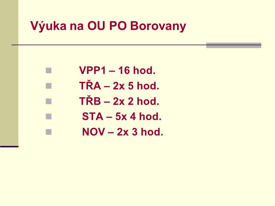 Výuka na OU PO Borovany VPP1 – 16 hod.TŘA – 2x 5 hod.