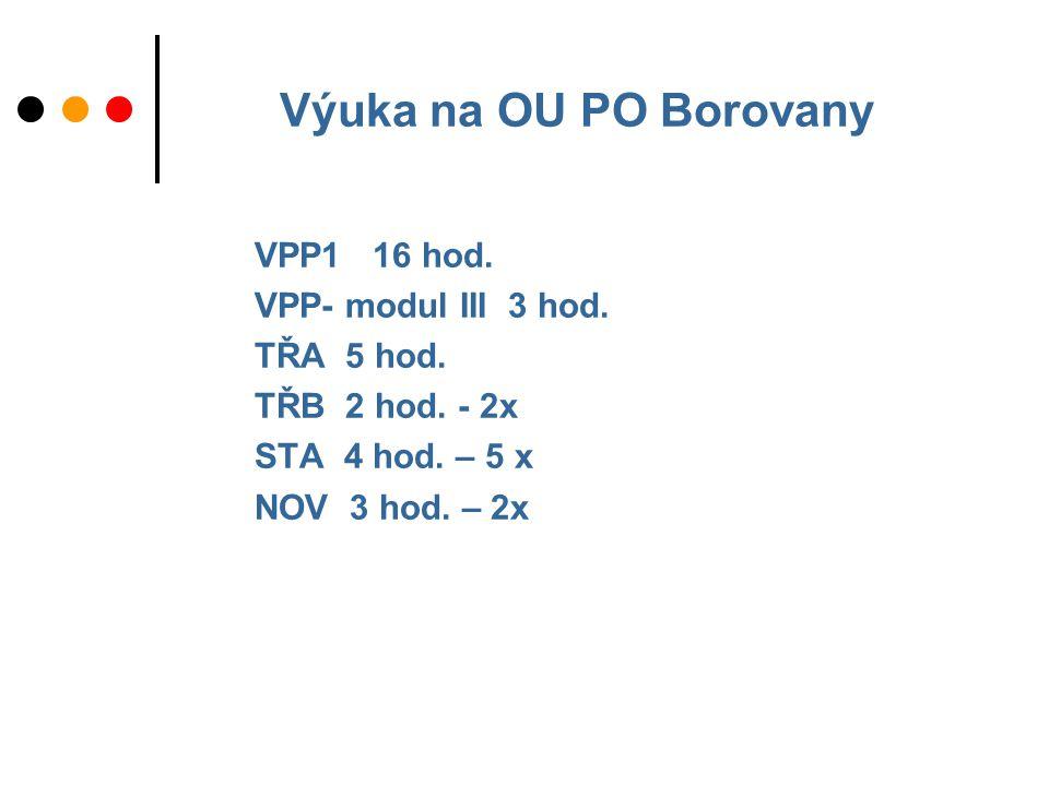 Výuka na OU PO Borovany VPP1 16 hod. VPP- modul III 3 hod.