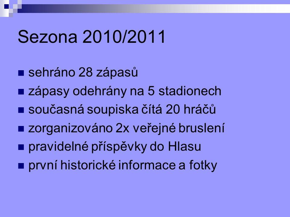 Sezona 2010/2011 sehráno 28 zápasů zápasy odehrány na 5 stadionech současná soupiska čítá 20 hráčů zorganizováno 2x veřejné bruslení pravidelné příspěvky do Hlasu první historické informace a fotky