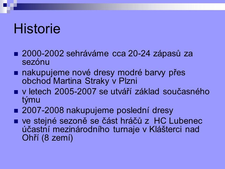 Historie 2000-2002 sehráváme cca 20-24 zápasů za sezónu nakupujeme nové dresy modré barvy přes obchod Martina Straky v Plzni v letech 2005-2007 se utváří základ současného týmu 2007-2008 nakupujeme poslední dresy ve stejné sezoně se část hráčů z HC Lubenec účastní mezinárodního turnaje v Klášterci nad Ohří (8 zemí)