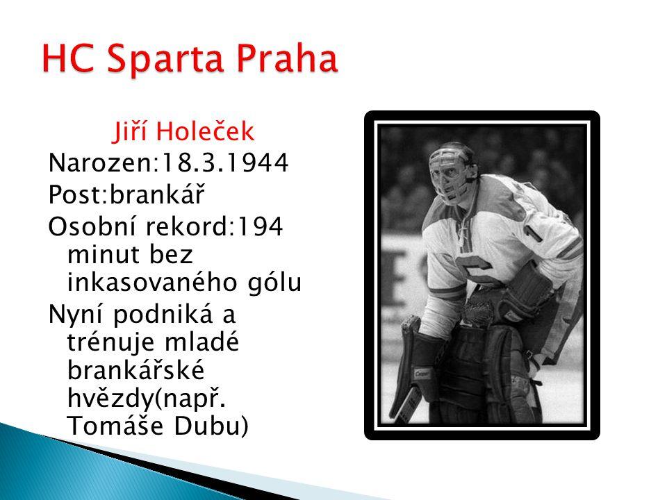 Jiří Holeček Narozen:18.3.1944 Post:brankář Osobní rekord:194 minut bez inkasovaného gólu Nyní podniká a trénuje mladé brankářské hvězdy(např. Tomáše