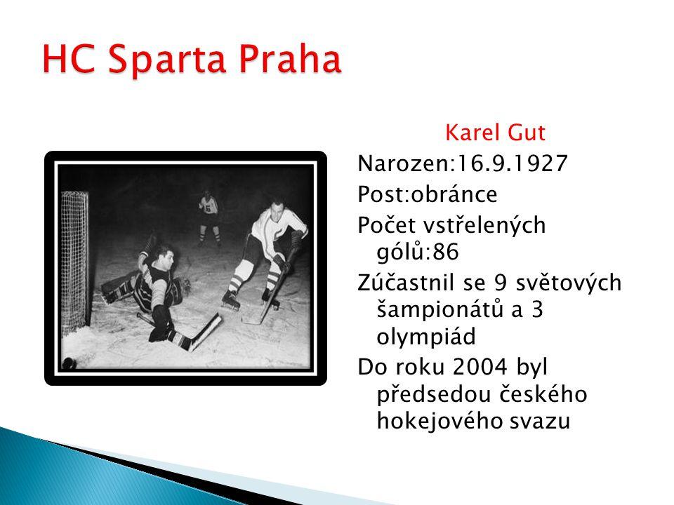 Karel Gut Narozen:16.9.1927 Post:obránce Počet vstřelených gólů:86 Zúčastnil se 9 světových šampionátů a 3 olympiád Do roku 2004 byl předsedou českého