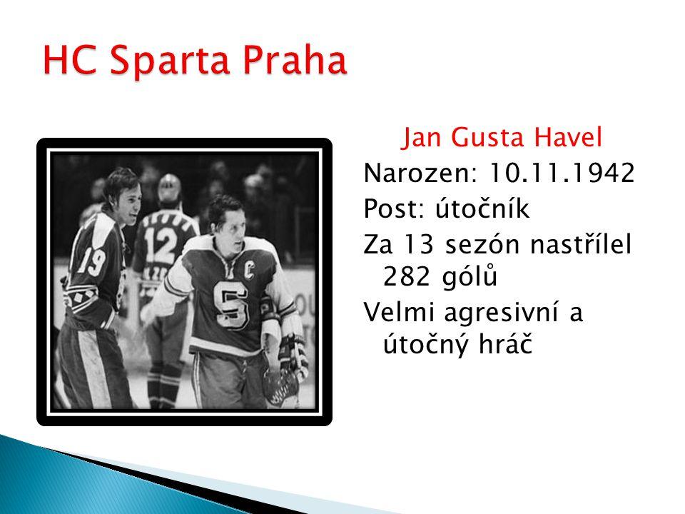 Jan Gusta Havel Narozen: 10.11.1942 Post: útočník Za 13 sezón nastřílel 282 gólů Velmi agresivní a útočný hráč