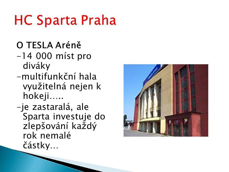 O TESLA Aréně -14 000 míst pro diváky -multifunkční hala využitelná nejen k hokeji….. -je zastaralá, ale Sparta investuje do zlepšování každý rok nema
