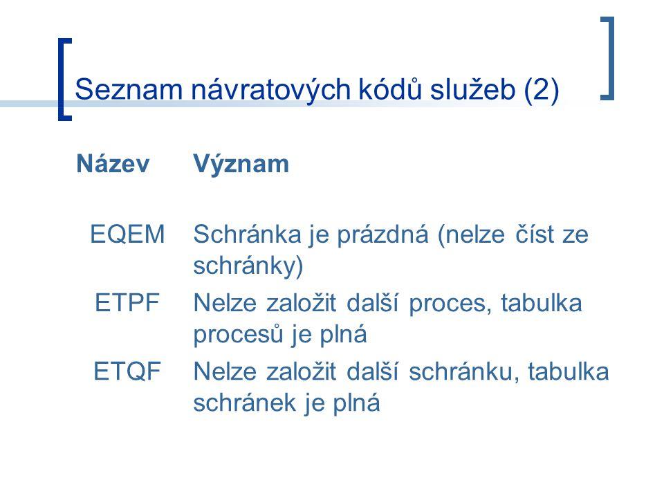 Seznam návratových kódů služeb (2) NázevVýznam EQEMSchránka je prázdná (nelze číst ze schránky) ETPFNelze založit další proces, tabulka procesů je plná ETQFNelze založit další schránku, tabulka schránek je plná