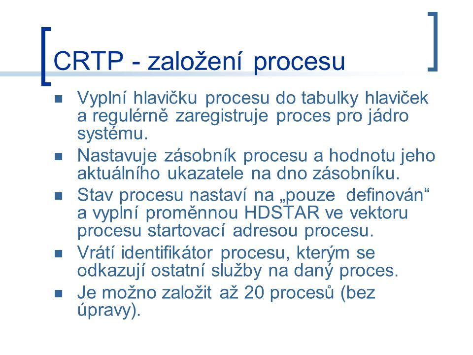 CRTP - založení procesu Vyplní hlavičku procesu do tabulky hlaviček a regulérně zaregistruje proces pro jádro systému.