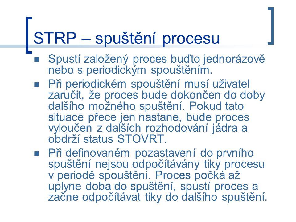 STRP – spuštění procesu Spustí založený proces buďto jednorázově nebo s periodickým spouštěním.