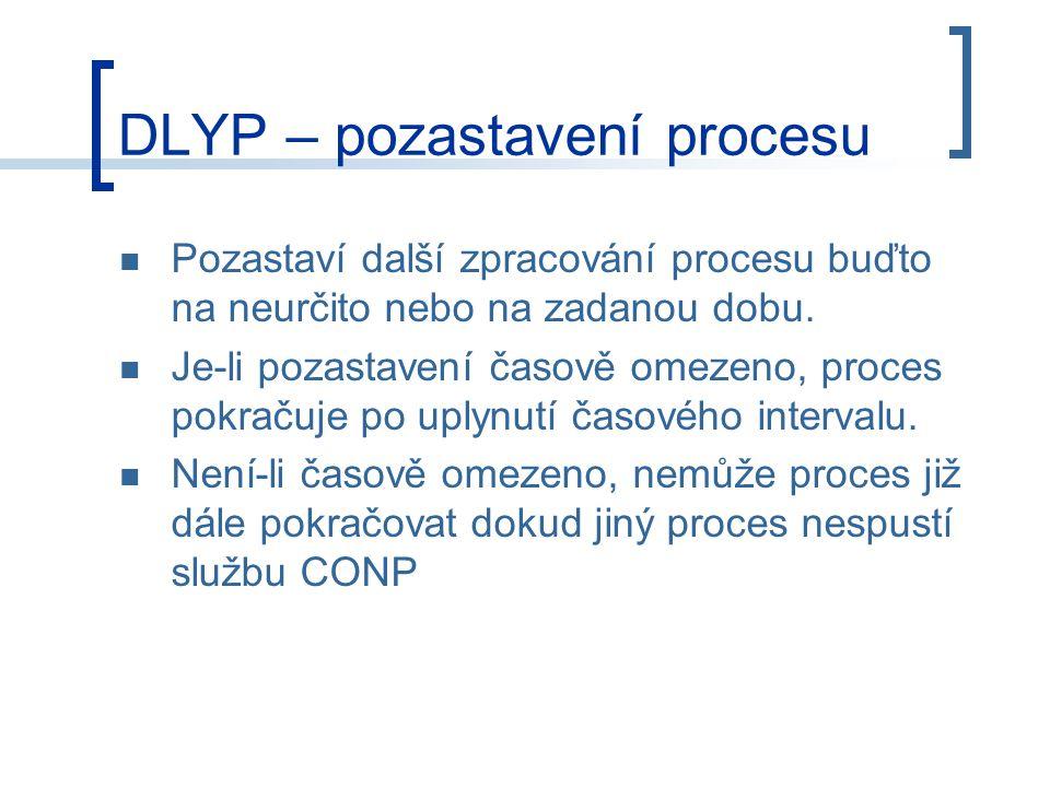 DLYP – pozastavení procesu Pozastaví další zpracování procesu buďto na neurčito nebo na zadanou dobu.