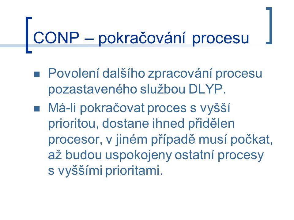 CONP – pokračování procesu Povolení dalšího zpracování procesu pozastaveného službou DLYP.