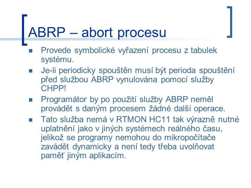 ABRP – abort procesu Provede symbolické vyřazení procesu z tabulek systému.