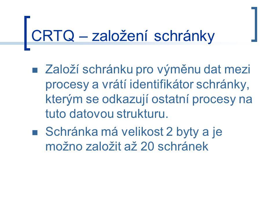 CRTQ – založení schránky Založí schránku pro výměnu dat mezi procesy a vrátí identifikátor schránky, kterým se odkazují ostatní procesy na tuto datovou strukturu.