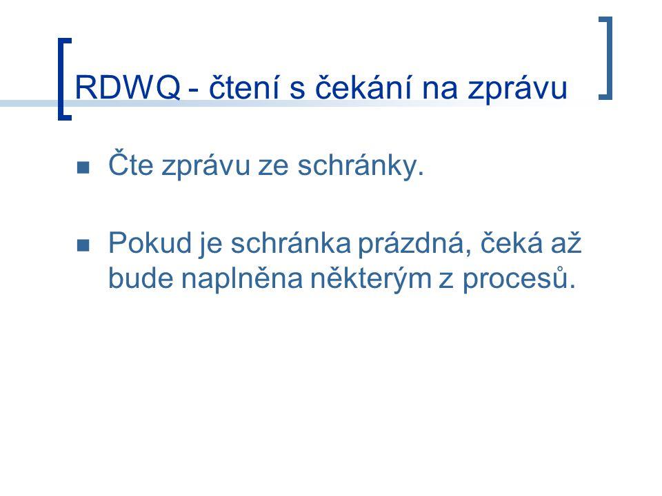 RDWQ - čtení s čekání na zprávu Čte zprávu ze schránky.