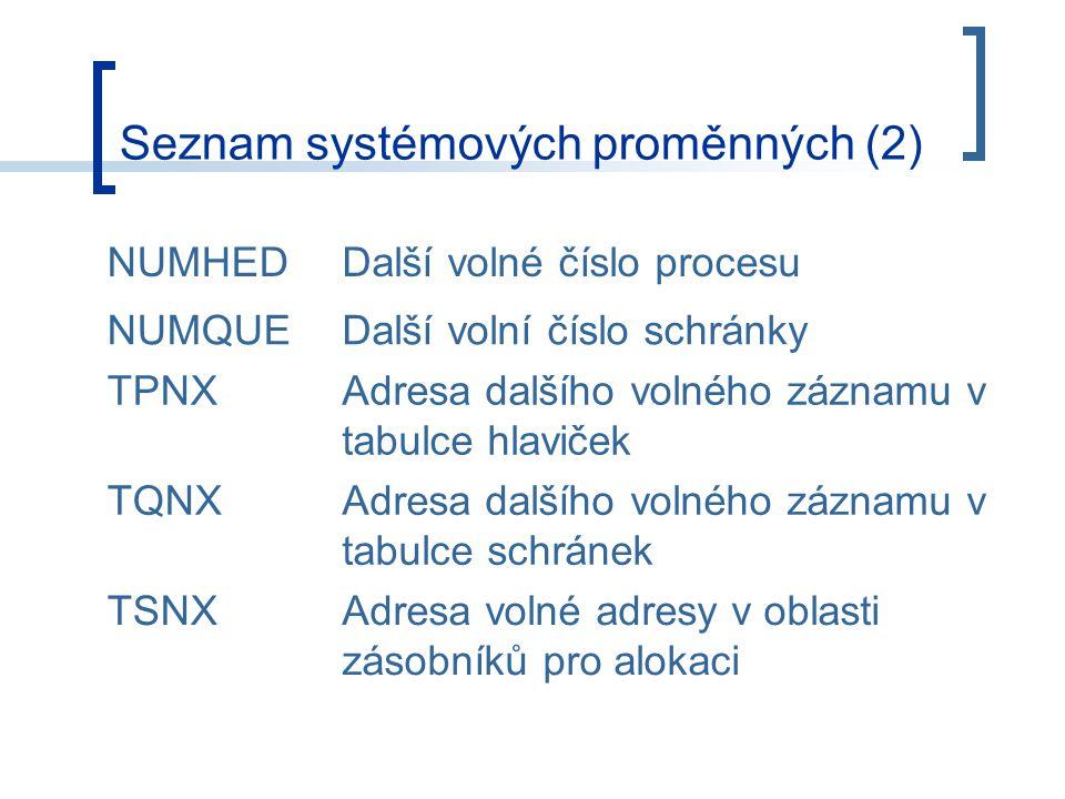 Seznam systémových proměnných (2) NUMHEDDalší volné číslo procesu NUMQUEDalší volní číslo schránky TPNXAdresa dalšího volného záznamu v tabulce hlaviček TQNXAdresa dalšího volného záznamu v tabulce schránek TSNXAdresa volné adresy v oblasti zásobníků pro alokaci